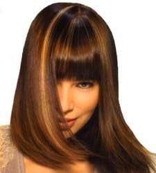 cortes pelo largo liso castaño con flequillo